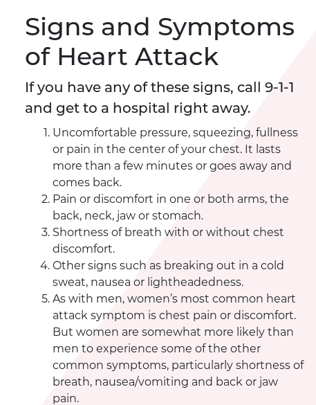 February American Heart Month signs of a heart attack
